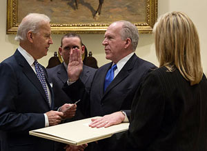 John Brennan - a Roman Catholic, was sworn in with his hand on an original draft of the United States Constitution, dating from 1787 - The 1st ammendment that protects religious liberty was not enacted till 1791.